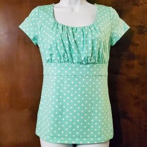 Ann Taylor | Seafoam Green White Polka Dot Top S